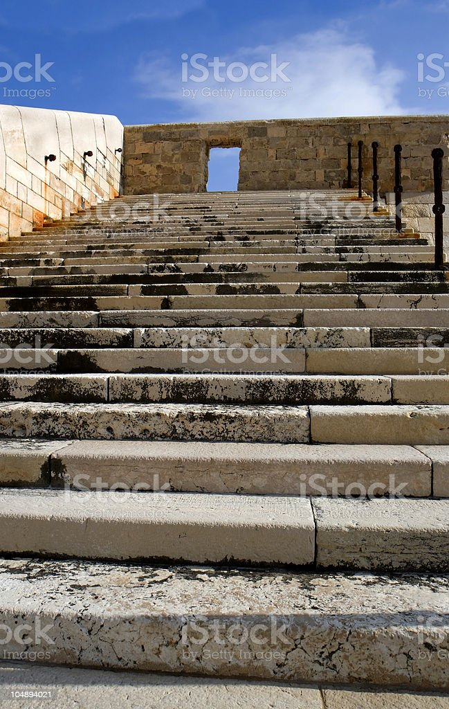 Stone stairway and blue sky stock photo