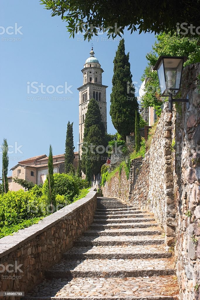 Stone stairway to the church royalty-free stock photo