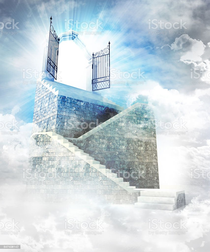 stone stairway  with gate entrance on top stock photo