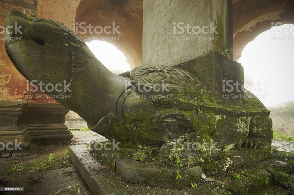 stone statue of a turtle in the ancient temple stock photo
