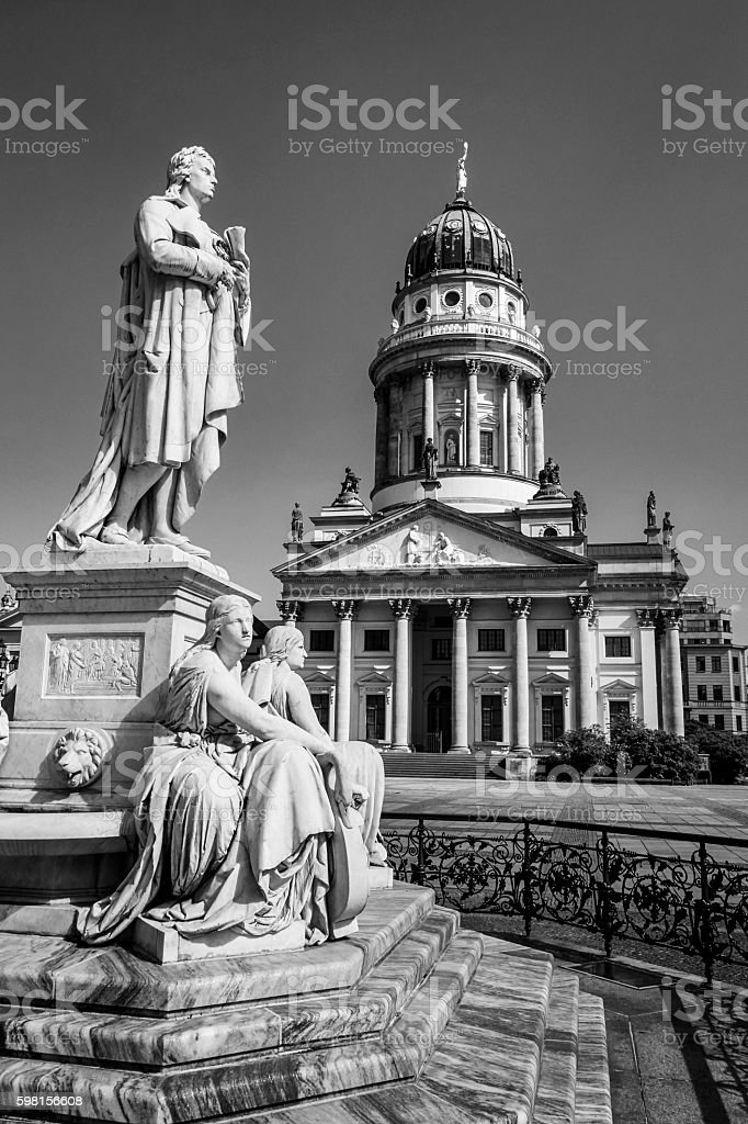 Stone statue of Schiller / French Dome Berlin stock photo