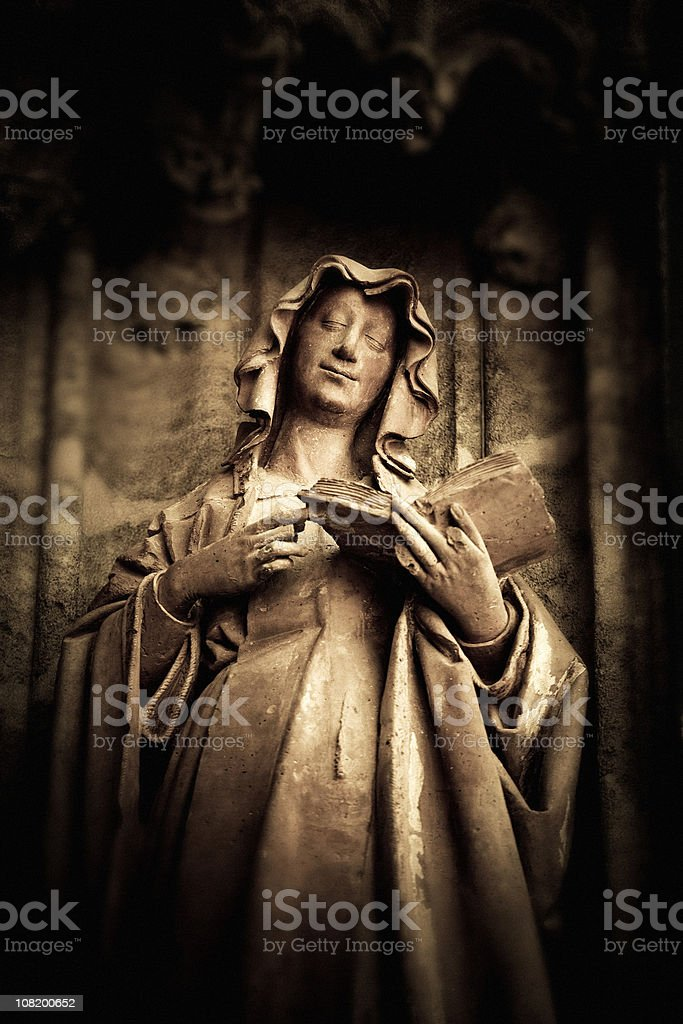 Stone Statue of Smiling Nun royalty-free stock photo
