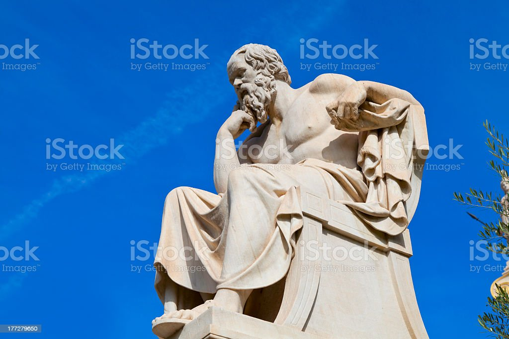 Stone statue of Socrates on a sunny day stock photo