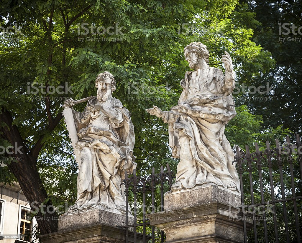 Stone statues Kracow royalty-free stock photo