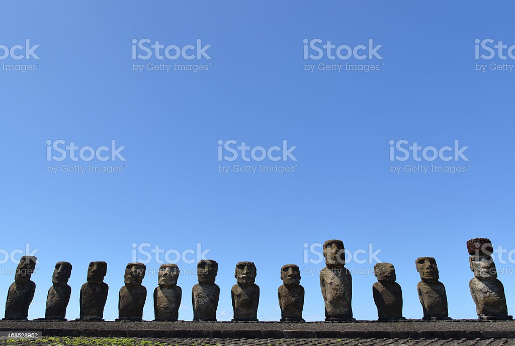 Stone statues on Easter Island, Chile. stock photo
