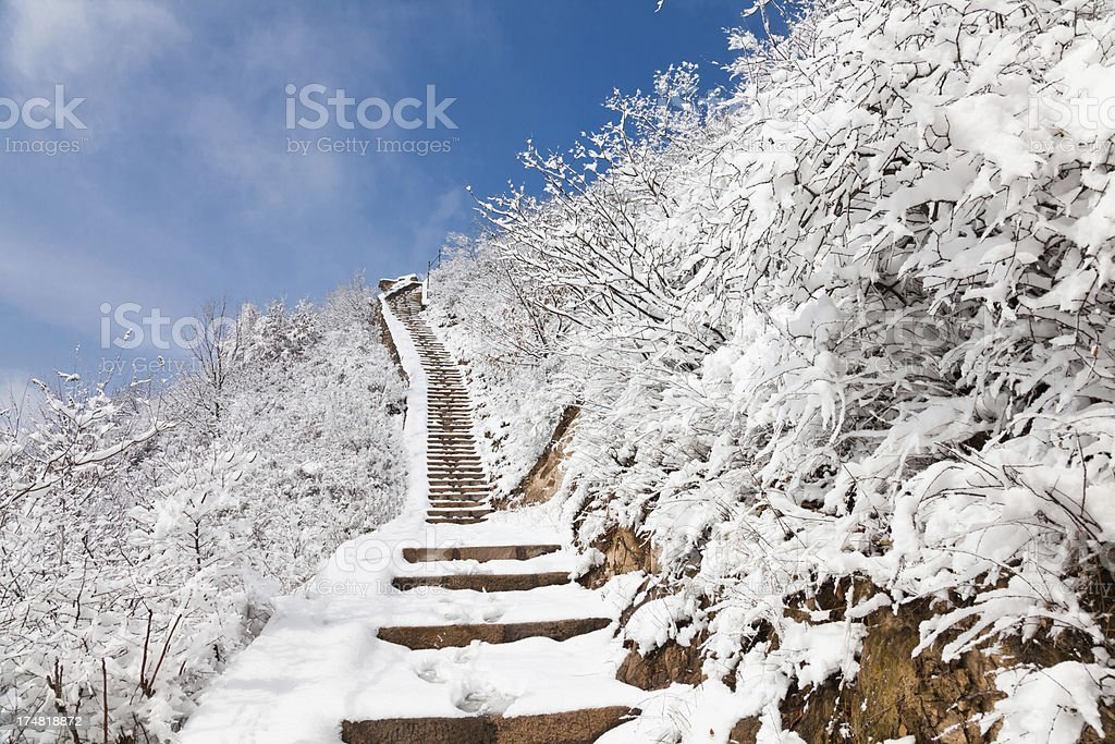 Stone step in snow mountain royalty-free stock photo