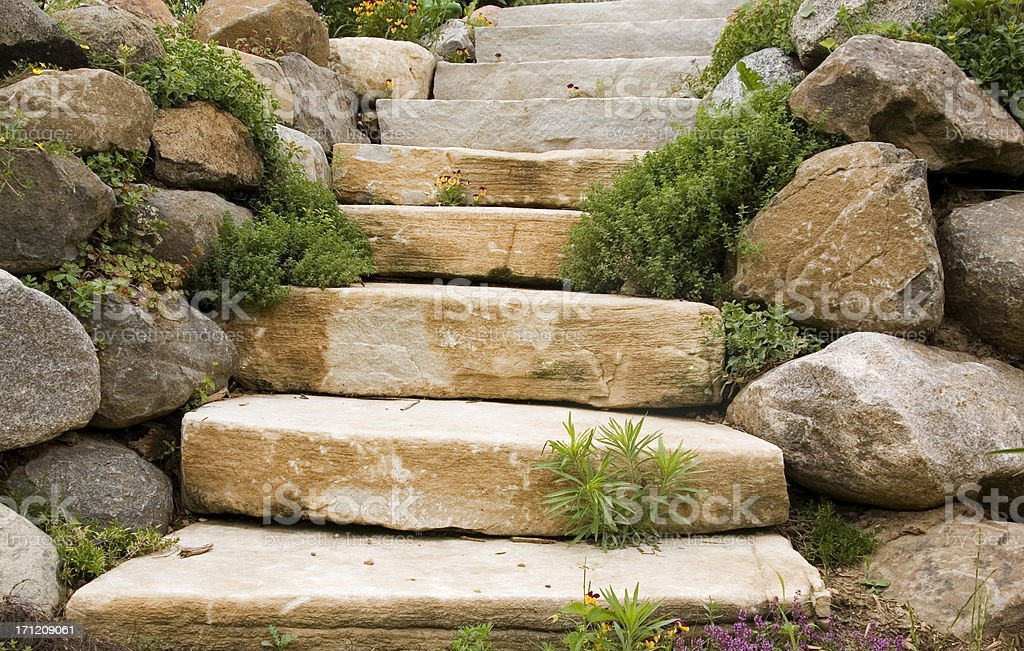 Stone steps and rock wall. royalty-free stock photo