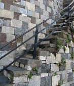 Stone steps and stone block wall.