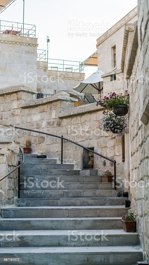 Stone steps and wall stock photo