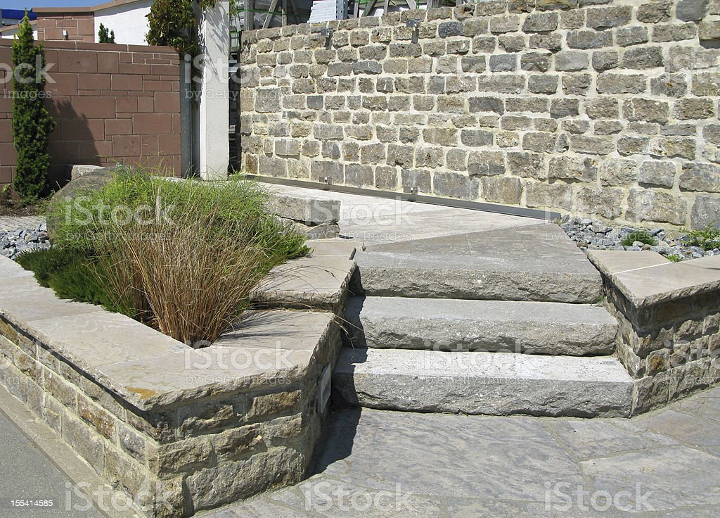Stone steps and walls in the garden. stock photo