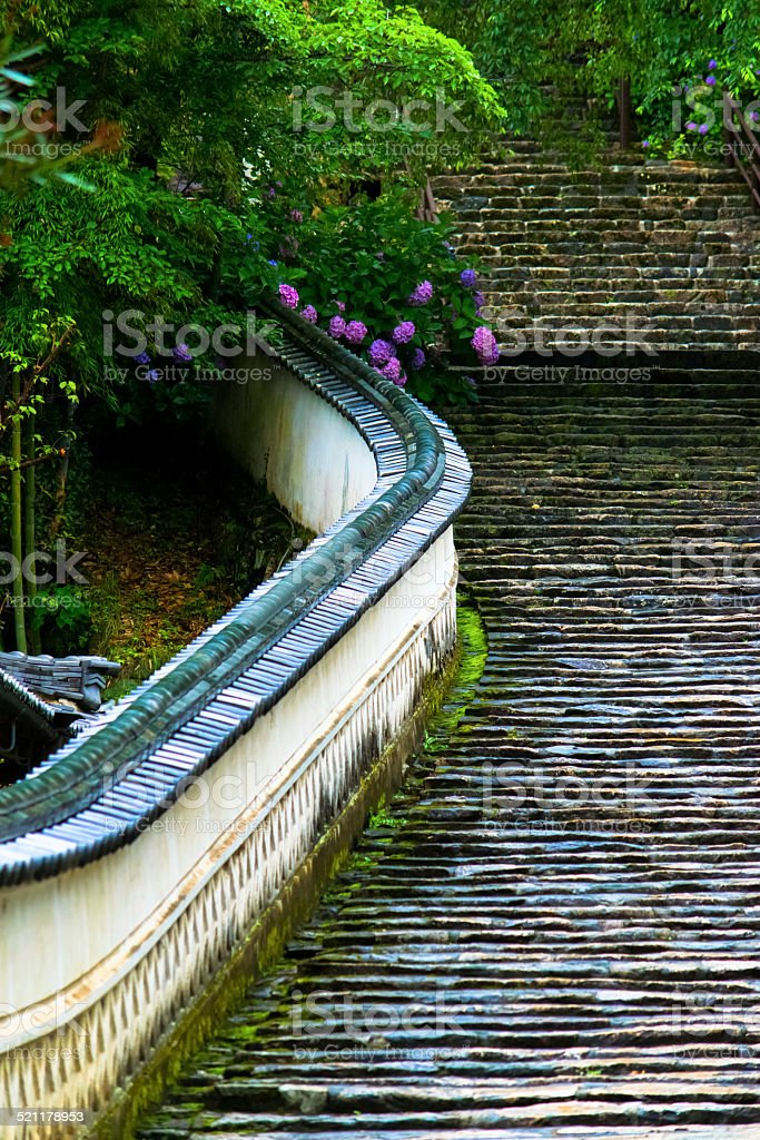 Stone steps at Hase dera temple stock photo