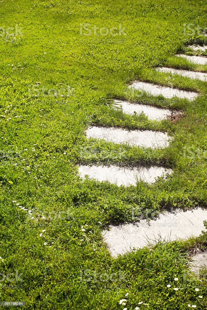 Stone steps, curve in a garden path , springtime. stock photo