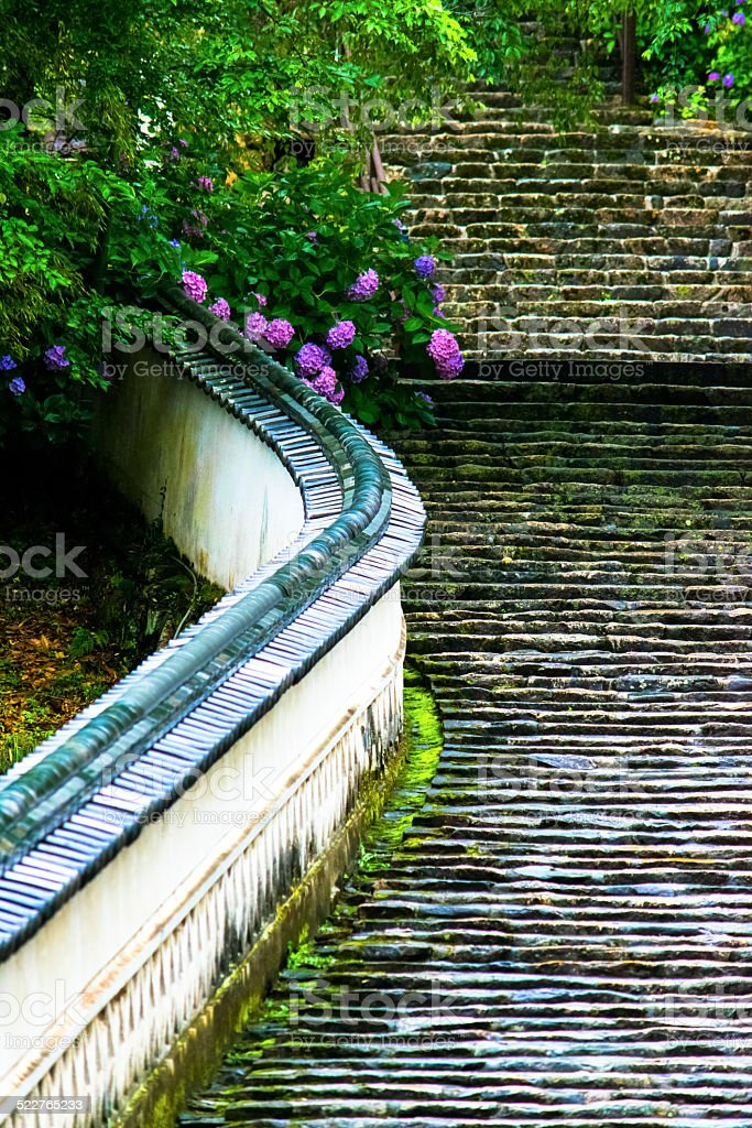 Stone steps of Hase-dera Temple stock photo