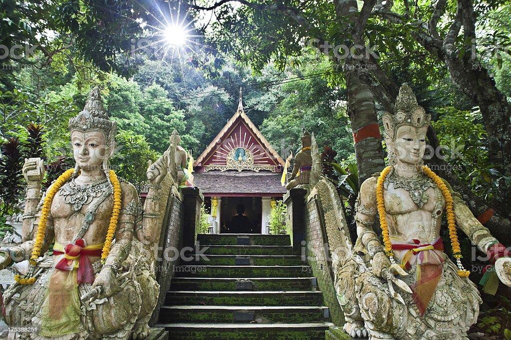 Stone Steps statues at Wat Pha Lat, Chiang Mai Thailand stock photo
