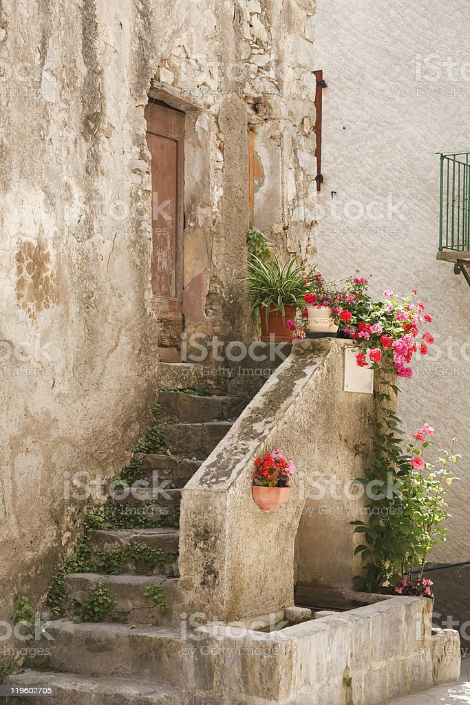 Stone steps to rustic house stock photo