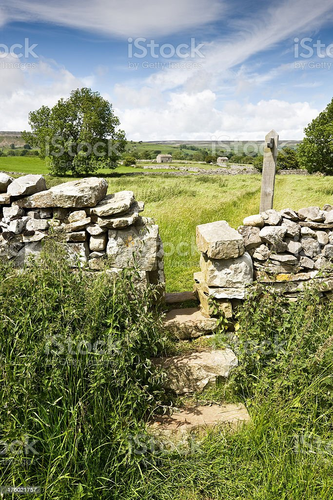 Stone Stile in the Yorkshire Dales stock photo