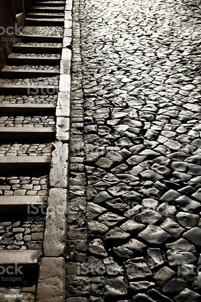 Stone street and steps in Lisbon, Portugal stock photo
