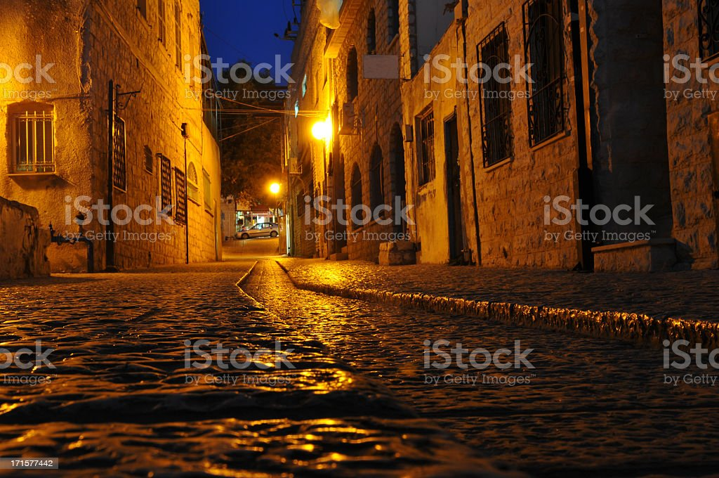 Stone street in Safed, Israel stock photo