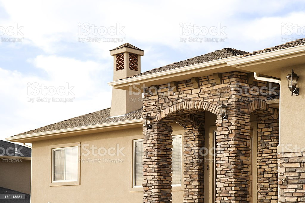 Stone Stucco and Sky stock photo