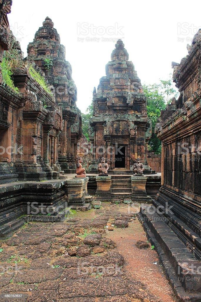 Stone temple ruins at Banteay Srei, Cambodia stock photo
