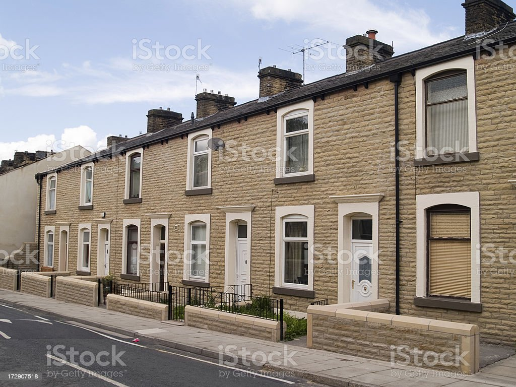 Stone terraced houses in Northern England, royalty-free stock photo