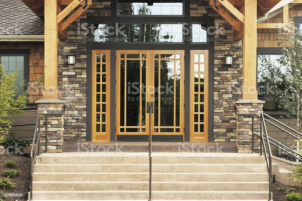 Stone Timber Architecture Entrance stock photo