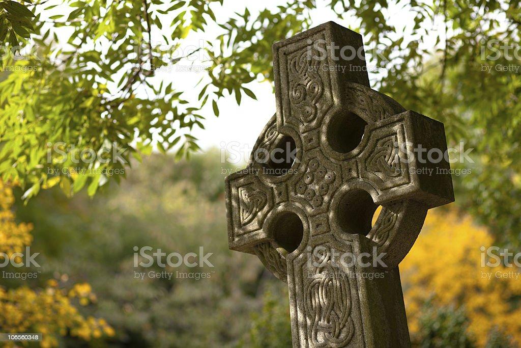 Stone tombstone stock photo