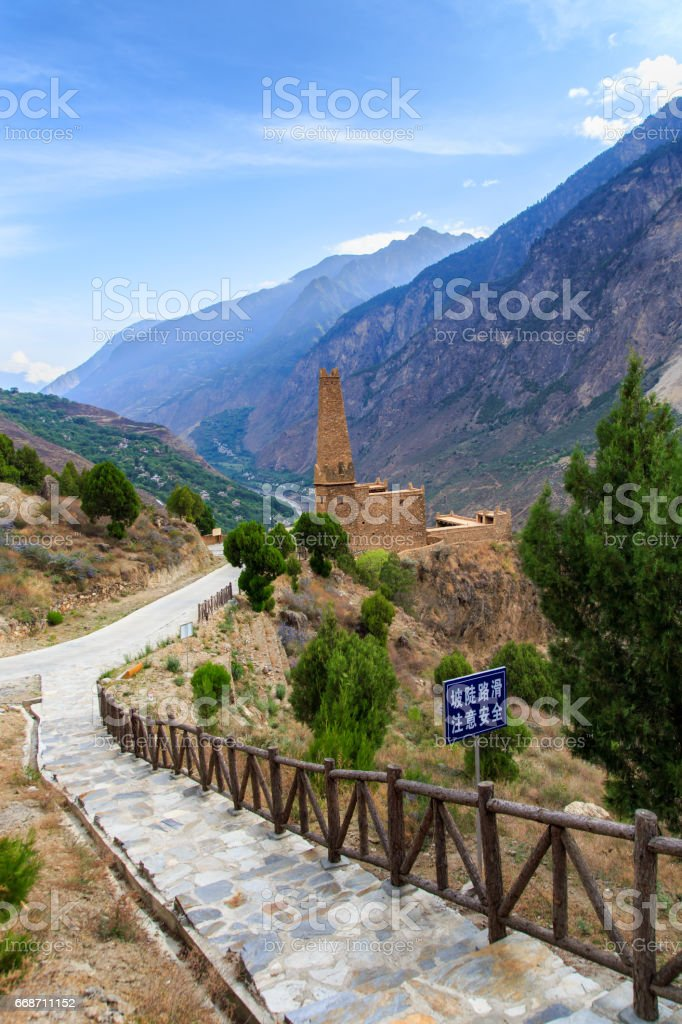 Stone Towers in tibetan Danba village Suopo in China stock photo