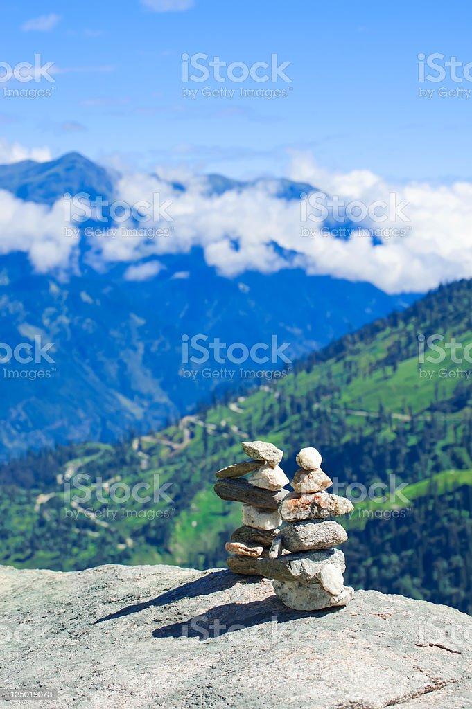 Stone towers. Two pyramid of meditation zen stones stock photo