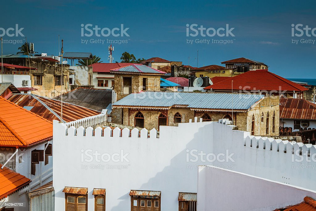 Stone town rooftops stock photo