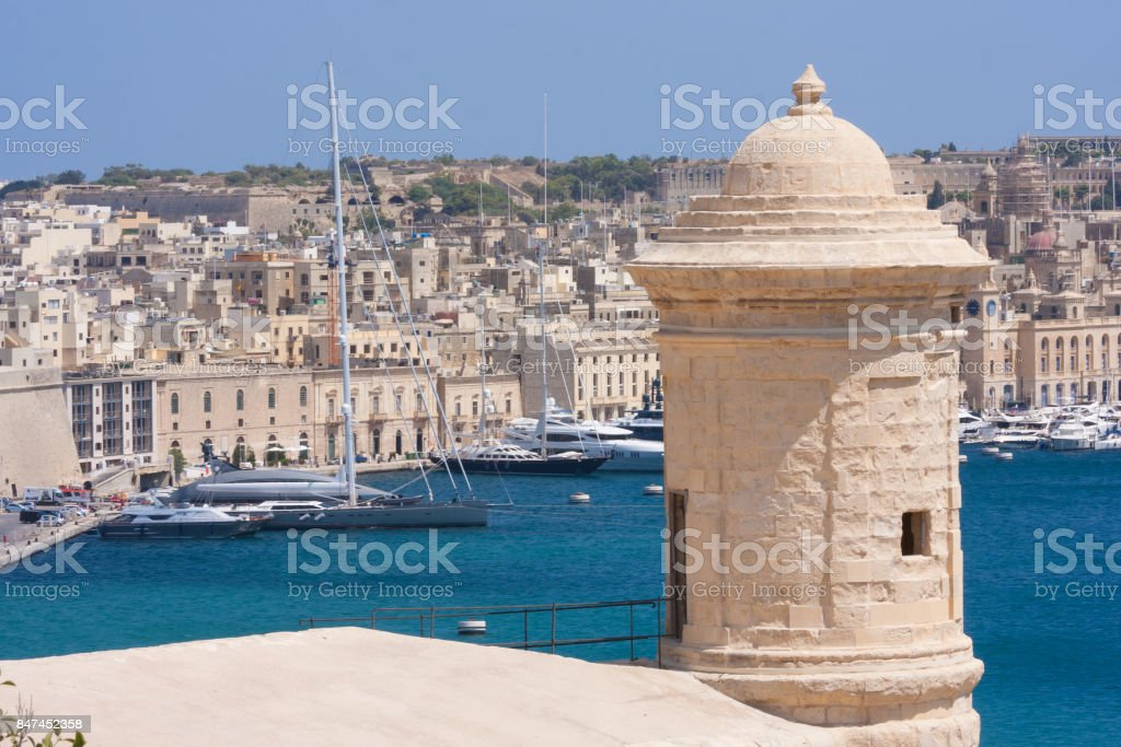 stone turret invalletta, malta stock photo