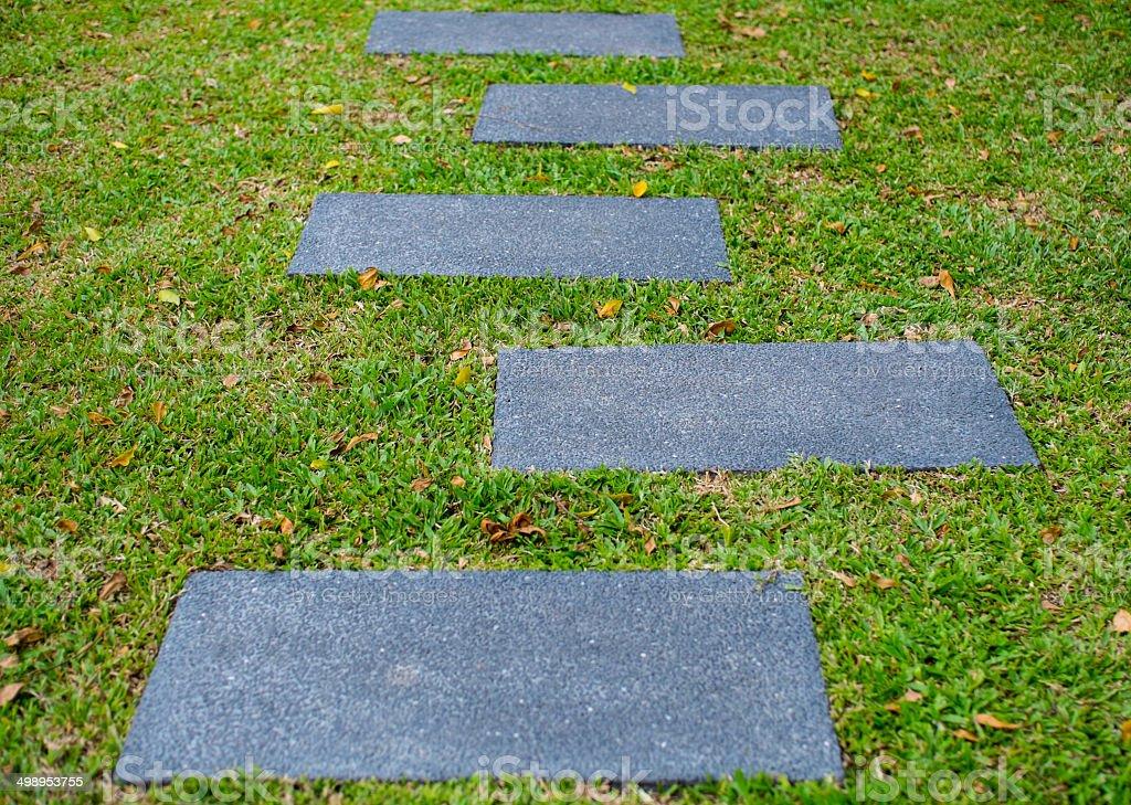Stone walk way on grass royalty-free stock photo