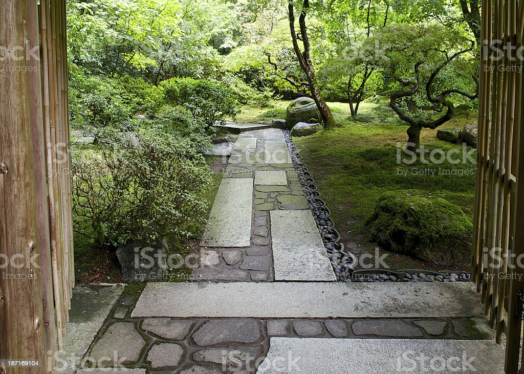 Stone Walkway Path Gate Fence Portland Japanese Garden Royalty Free Stock  Photo