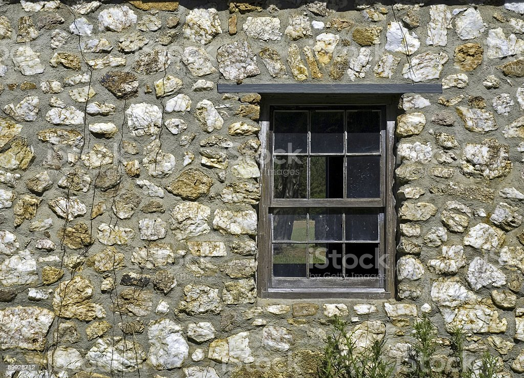 Stone Wall and Old Window royalty-free stock photo