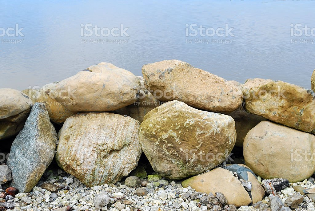 Stone Wall and Sea royalty-free stock photo