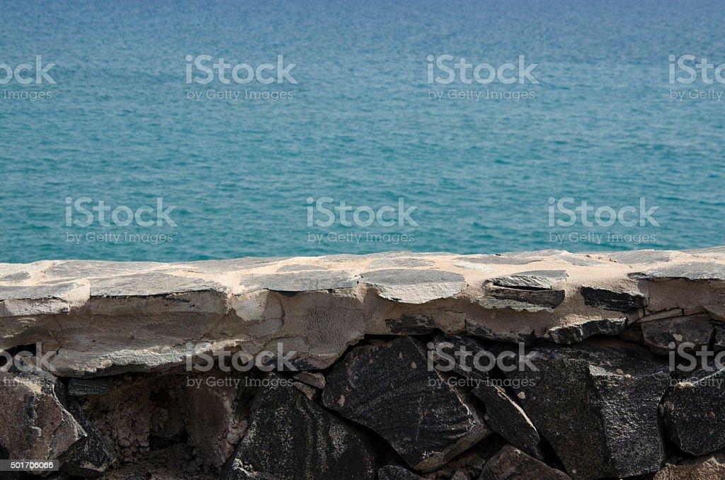 Stone Wall And Sea stock photo