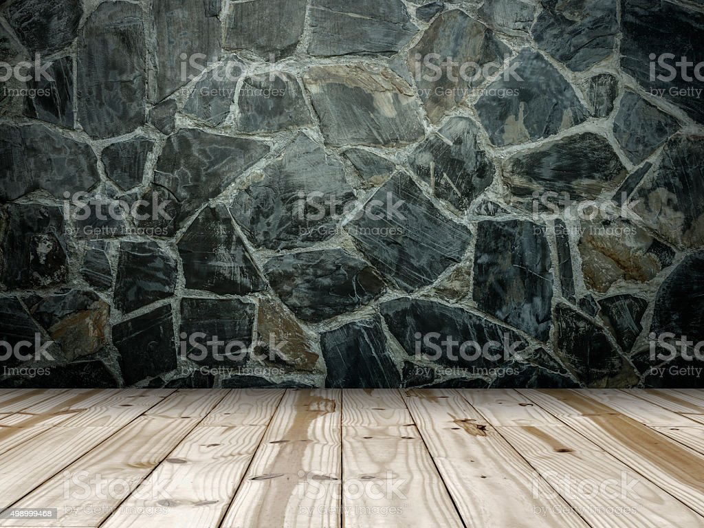 Stone wall and Wooden floor royalty-free stock photo