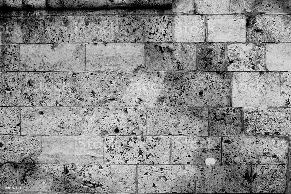 Stone Wall Background, Black and White royalty-free stock photo