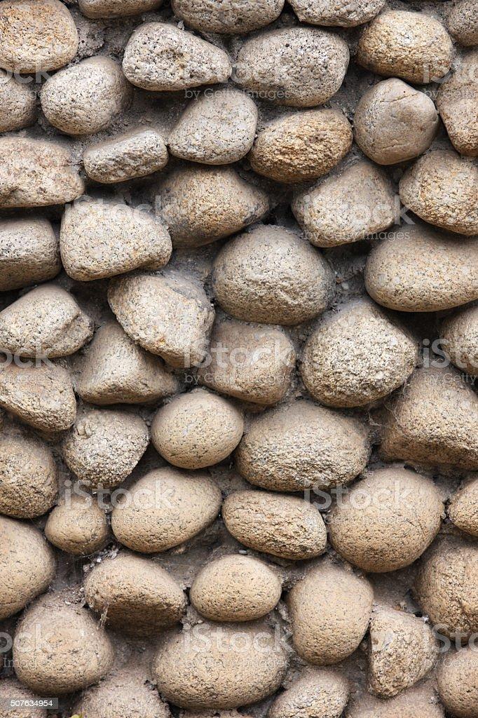 Stone Wall Mortared Rock Facade stock photo
