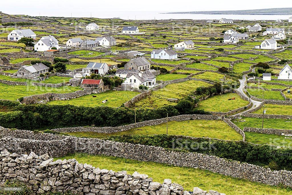 Stone wall of the Aran Islands stock photo