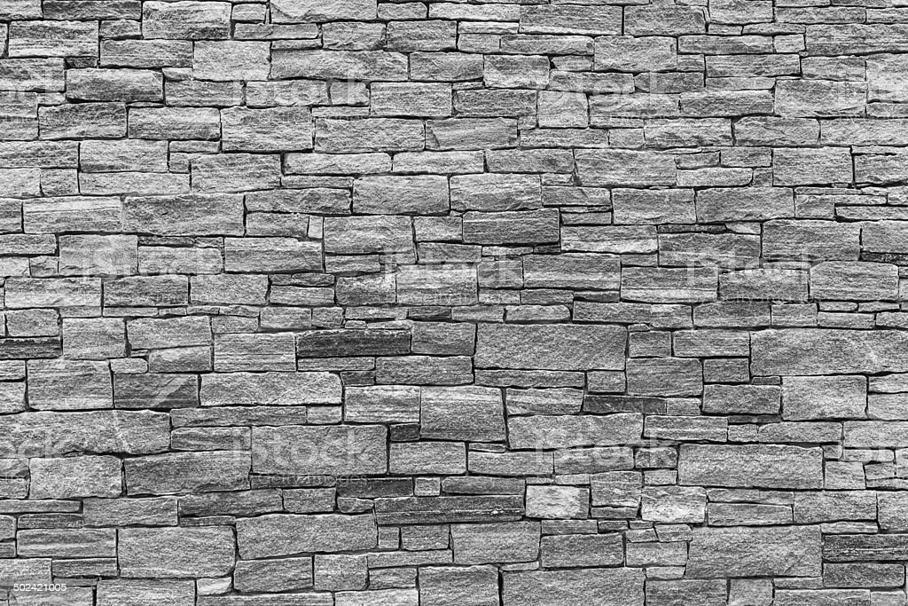 Stone Wall texture - Black and White stock photo