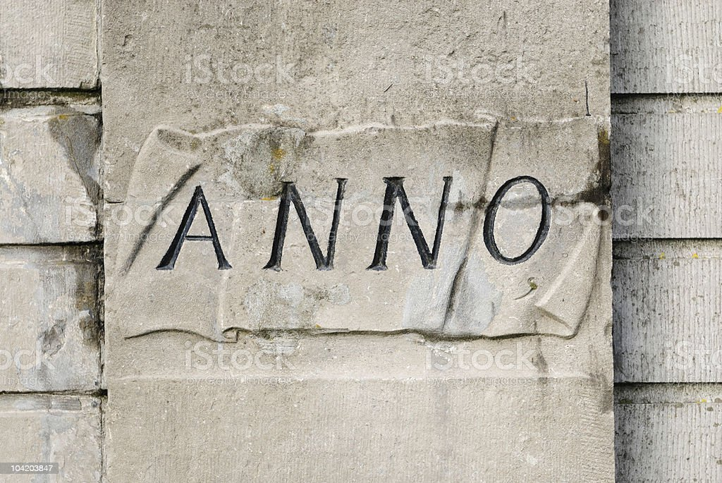Stone wall with Anno encarved in it royalty-free stock photo