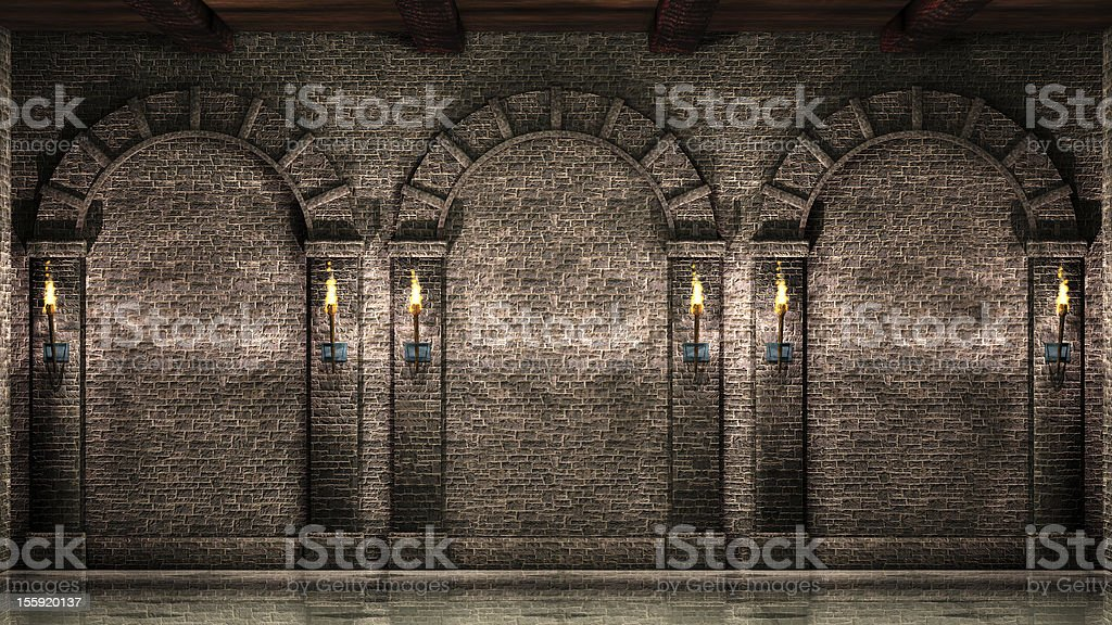 Stone wall with arches stock photo