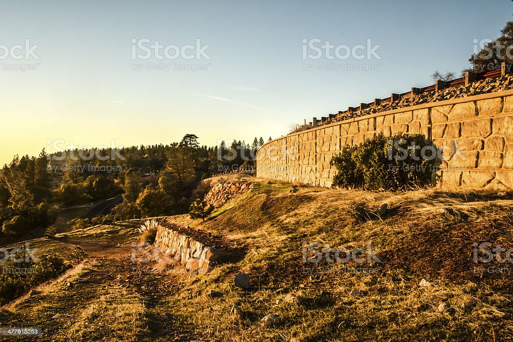 stone wall with mountain landscape royalty-free stock photo