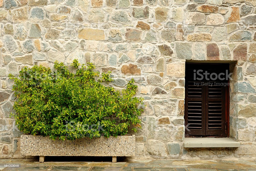 Stone wall with window and plants royalty-free stock photo