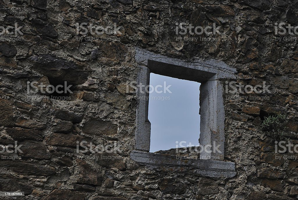 stone wall with window royalty-free stock photo
