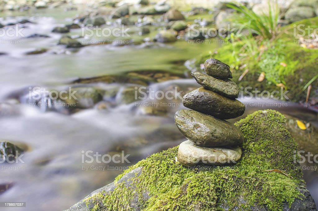 stone which was able to maintain balance stock photo