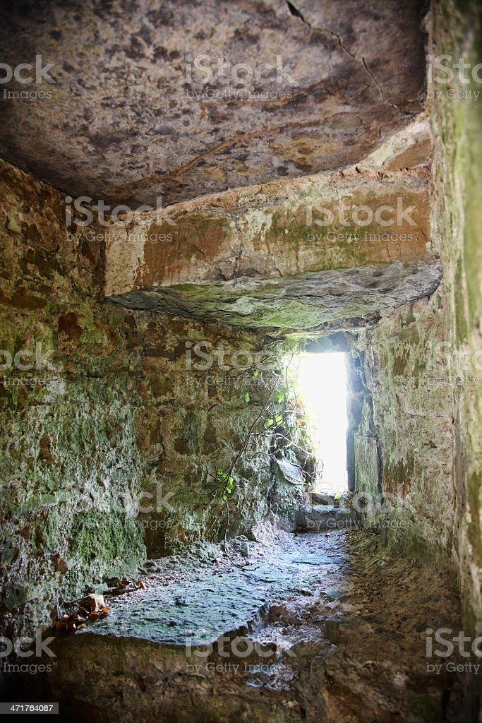 Stone window in castle ruin royalty-free stock photo