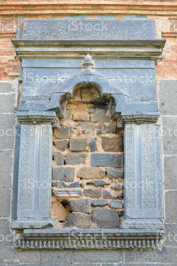 Stone window stock photo