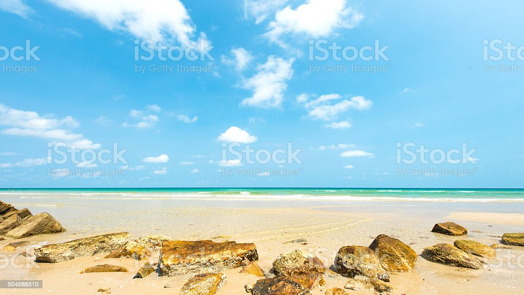 Stone with beautiful sandy beach at Koh Chang Island , Thailand stock photo
